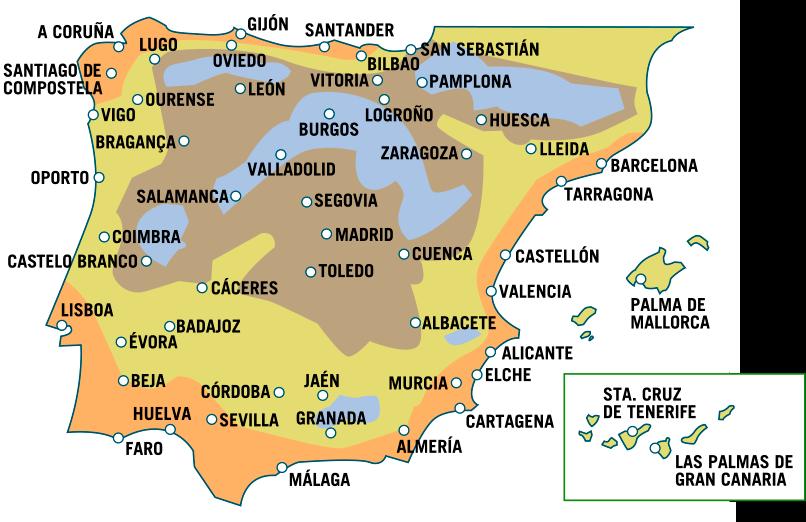 mapa españa calor verde